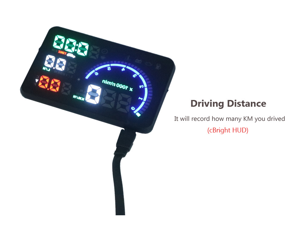 EANOP 5.5X HUD Headup Display Car Speed Projector Dashboard Windshield Projector Head OBD2 fuel Overspeed KM/H,RPM Clock 12