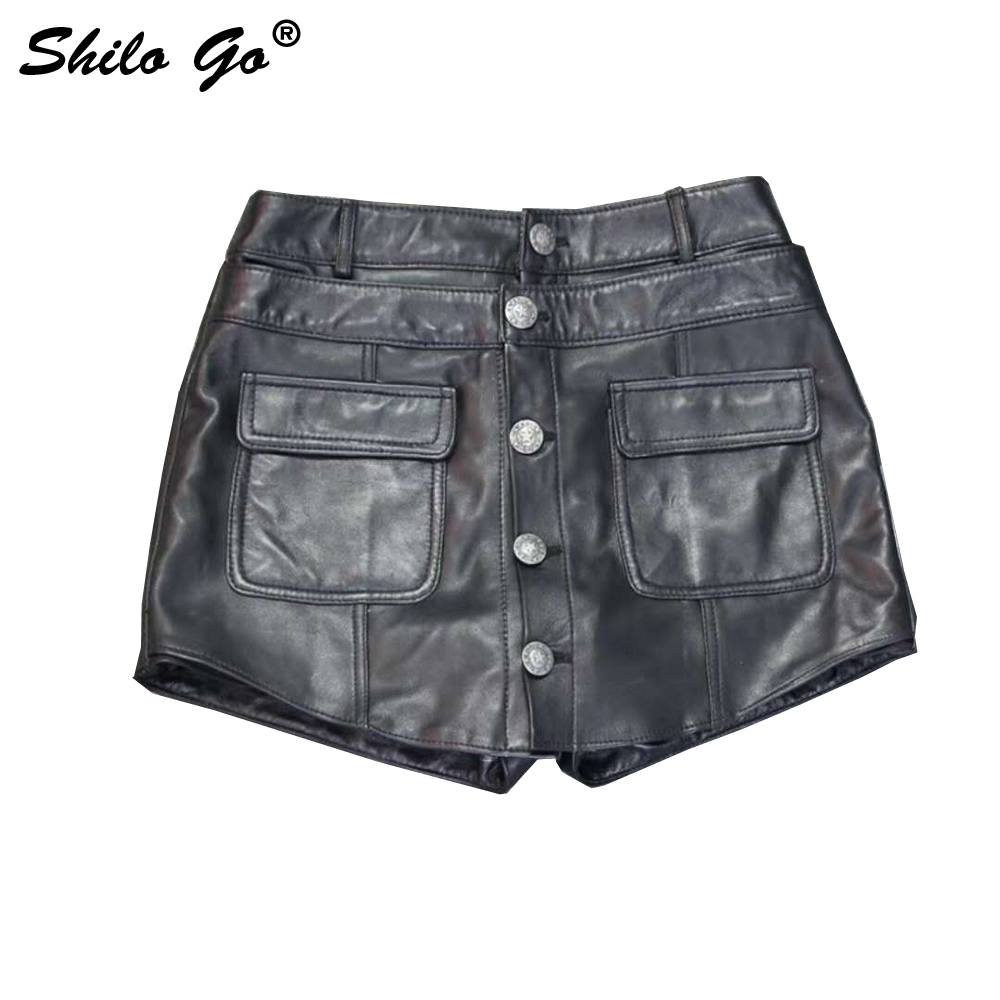 Leather Shorts Summer Spring Fashion Sheepskin Genuine Leather Shorts High Waist Single Breasted England Front Pocket Skirts