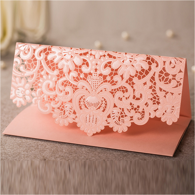 loverly laser cut flower wedding invitation envelopes pink envelope