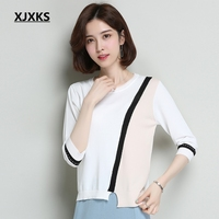 XJXKS Summer Tops For Women 2019 Modis Splice Knitting 7/10 Sleeve Thin Korean Shirt Comfortable Young Women Tee Shirt Femme
