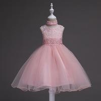 Children Sleeveless Pink Blue Purple Black Lace Party Princess Dress Girls Wedding Dress Age Size 8 10 12 14 15 16 17 Years Old