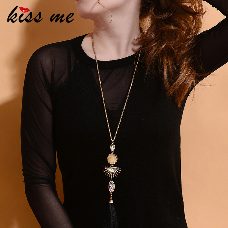 KISS ME Brand Alloy Tassel Long Necklace New Design Geometric Water Drop Pendant Necklace Women Accessories