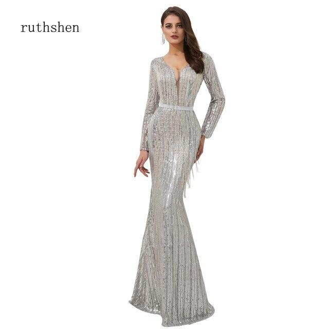 Ruthshen רעיוני שמלה נוצצת שמלת ערב נצנצים מצויץ ערב שמלות Seethrough סקסי בת ים שמלות Abendkleider 2019