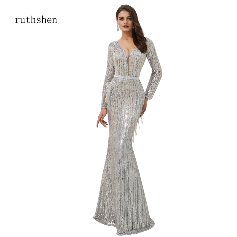 ruthshen Reflective   Dress   Sparkly   Evening     Dress   Sequined Fringed   Evening   Frocks Seethrough Sexy Mermaid Gowns Abendkleider 2019