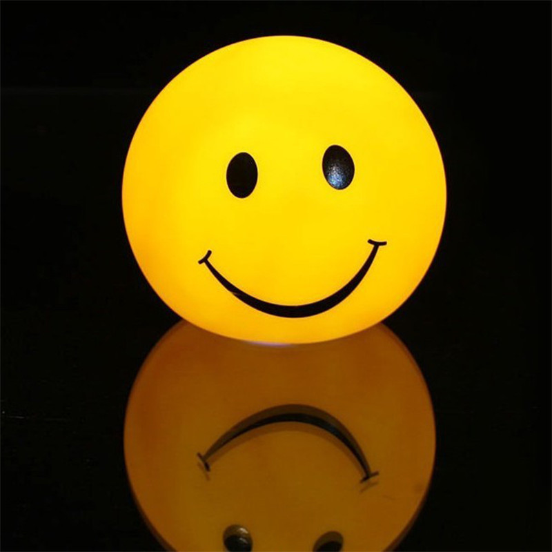 LED Round Smiley Face Night Light Color Changeable Night Lamp Home Decoration For Baby/Children Bedroom Sleeping Light @