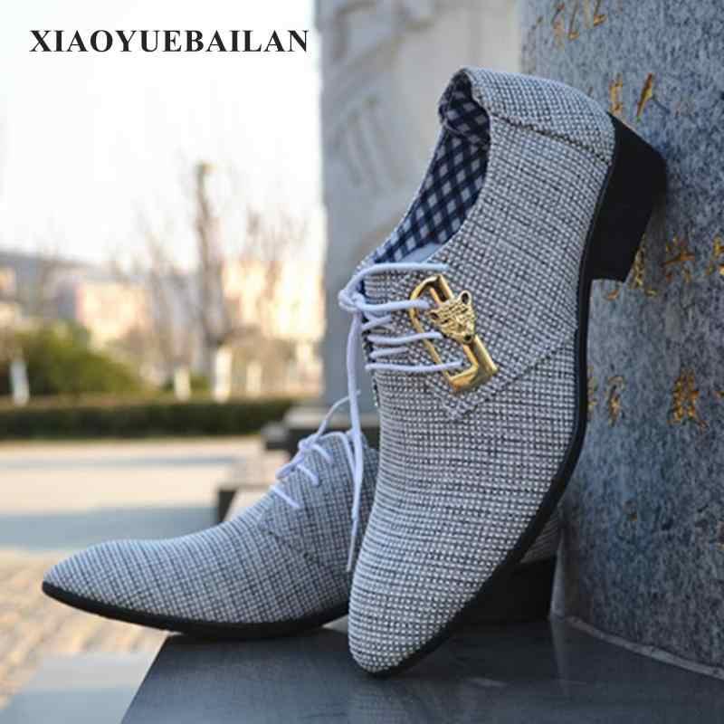 Бесплатная доставка; сезон весна-осень; Мужская Повседневная модная обувь в деловом стиле; тканевая Мужская дышащая обувь с острым носком