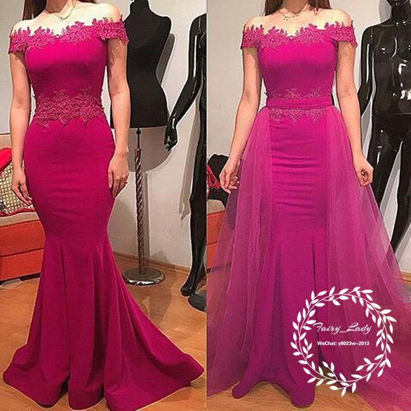 Women Off Shoulder Fuchsia Lace Appliques Long Prom evening gowns 2018 long Mermaid Detachable Skirt Mother Of The Bride Dresses