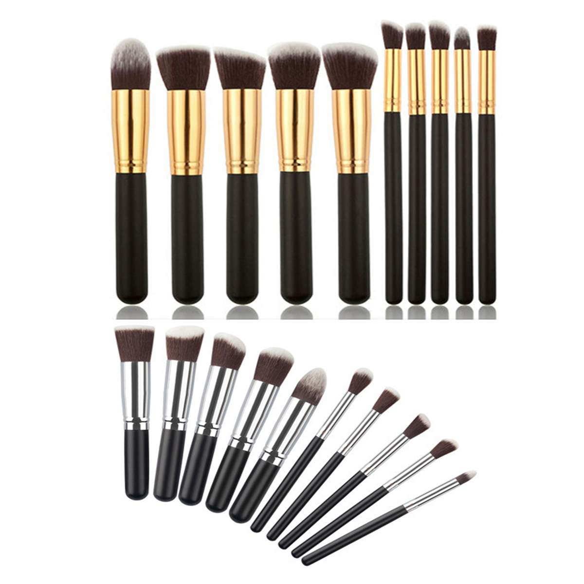 10pcs Professional Black/Gold Makeup Brushes Set Beauty Foundation Kabuki Brush Cosmetics Make up Brushes Kit Tools professional 10pcs blue silver jessup makeup brushes sets beauty kit foundation kabuki precision brush cosmetics make up tools
