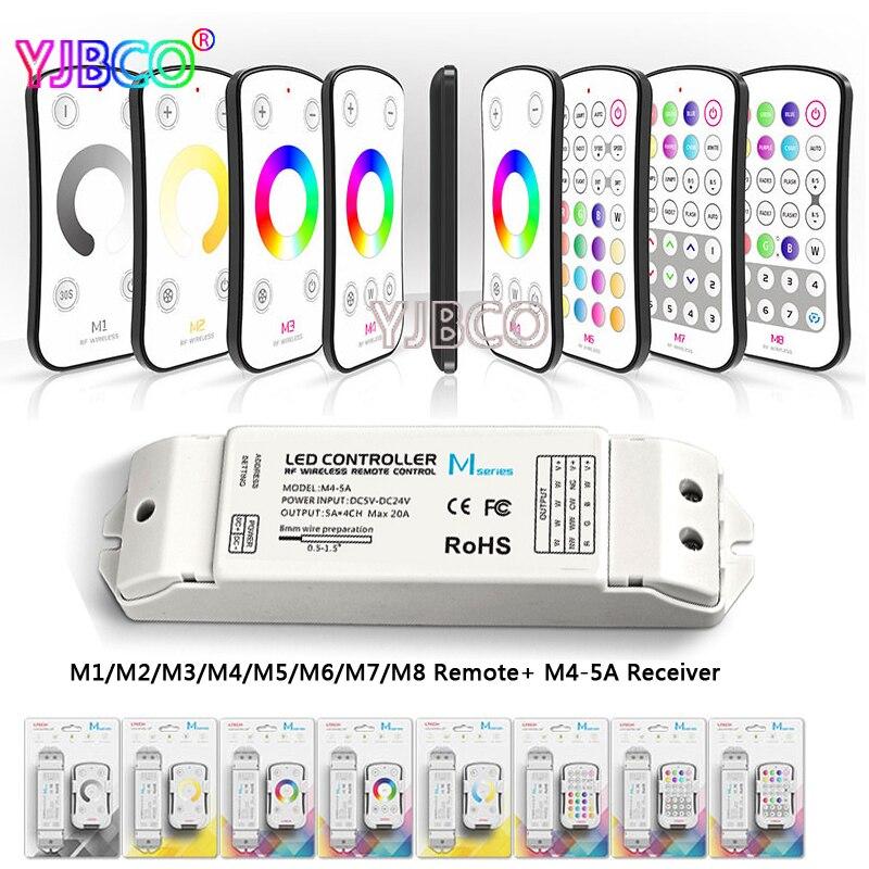 M1 M2 M3 M4 M5 M6 M7 M8 single color CT RGB RF Wireless Remote M4 5A CV Constant Voltage Receiver LED dimmer controller