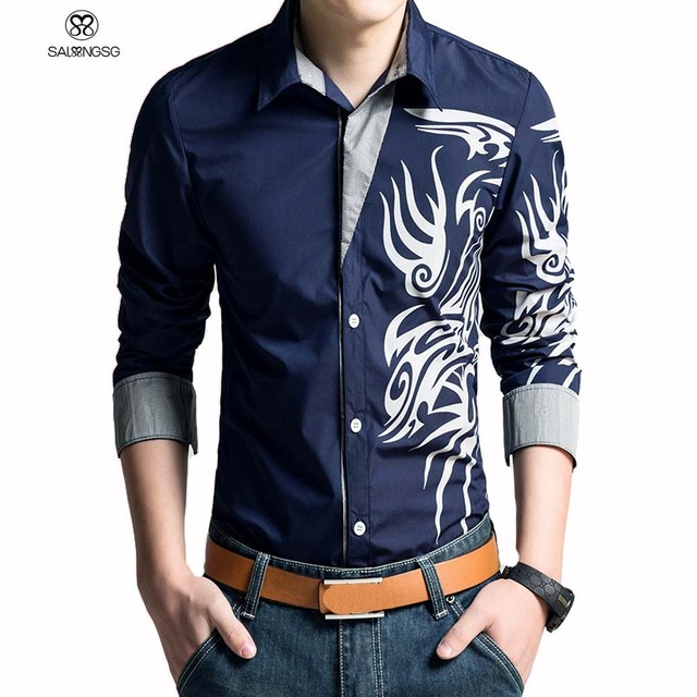 Buy 2017 brand men shirt homme dragon for Best place to buy mens dress shirts