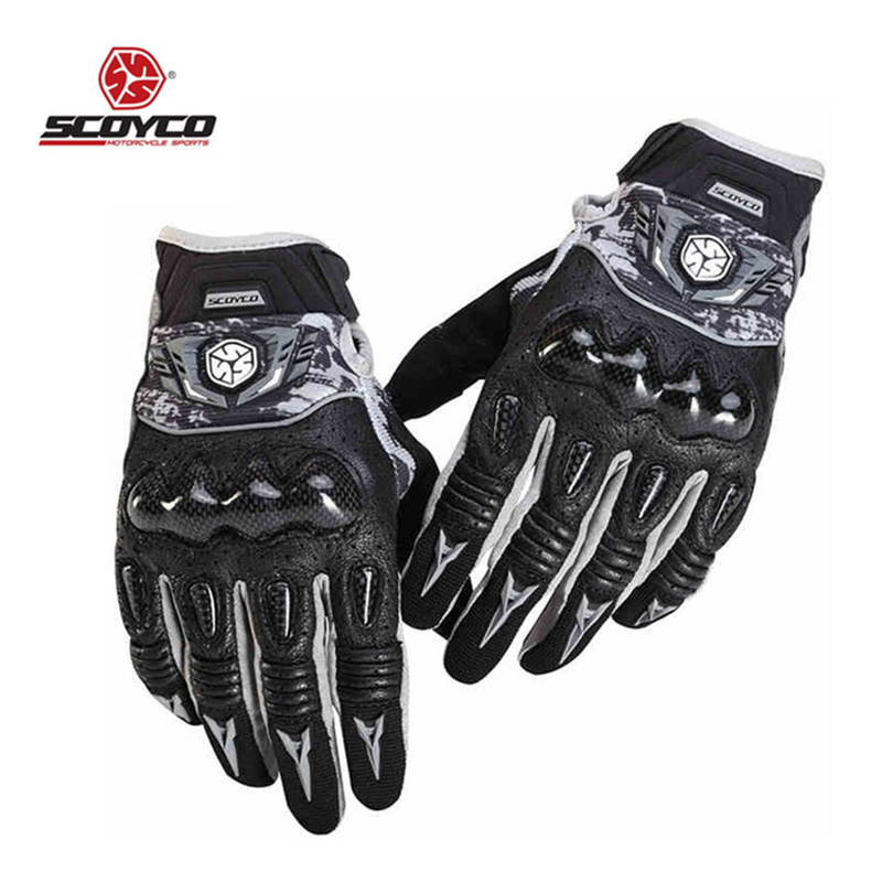 SCOYCO Motorcycle Gloves Men Moto Motocross LeatherProtection Perforated Riding Gloves Motorcross Off Road Racing Gloves MX49