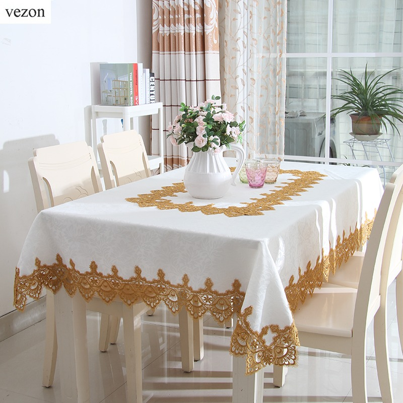 vezon new hot elegant jacquard lace tablecloth europe wedding party home round table linen cloth cover