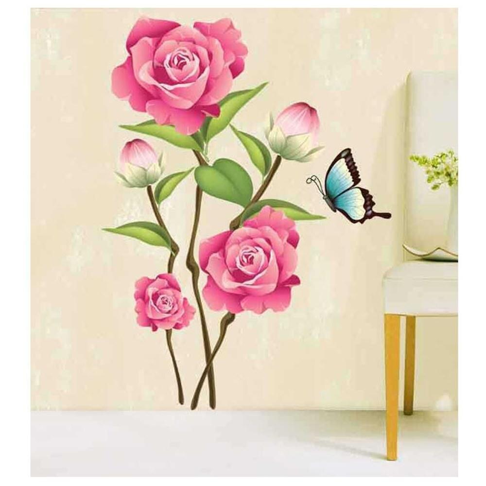 % De color rosa rosa flores mariposa removible etiqueta de la pared mural decal