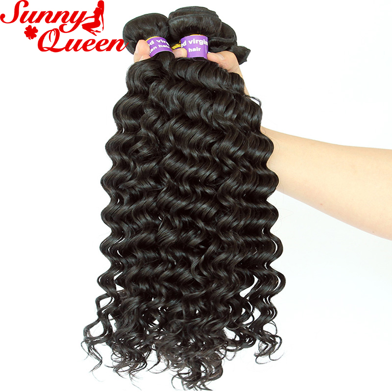 "Deep Wave Brazilian Virgin Hair Extensions 10-26"" Nature Color Unprocessed Human Hair Bundles Sunny Queen"