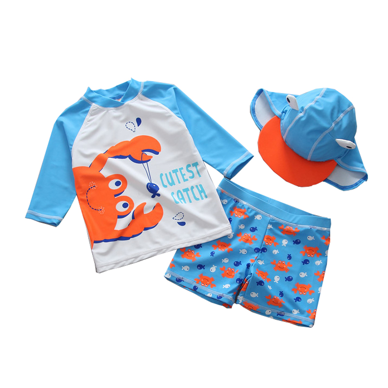 Mioigee 2018 Summer Boys Swimwear Baby Kids Swimsuits Swimming Clothes Boys Beach Surfing Bathing Swim 3pieces Suits 18M-5T baby boys swimwear summer 2016 cartoon swimsuit kids boys two pieces swimwear child swimmer boy kids swim clothes swim diaper