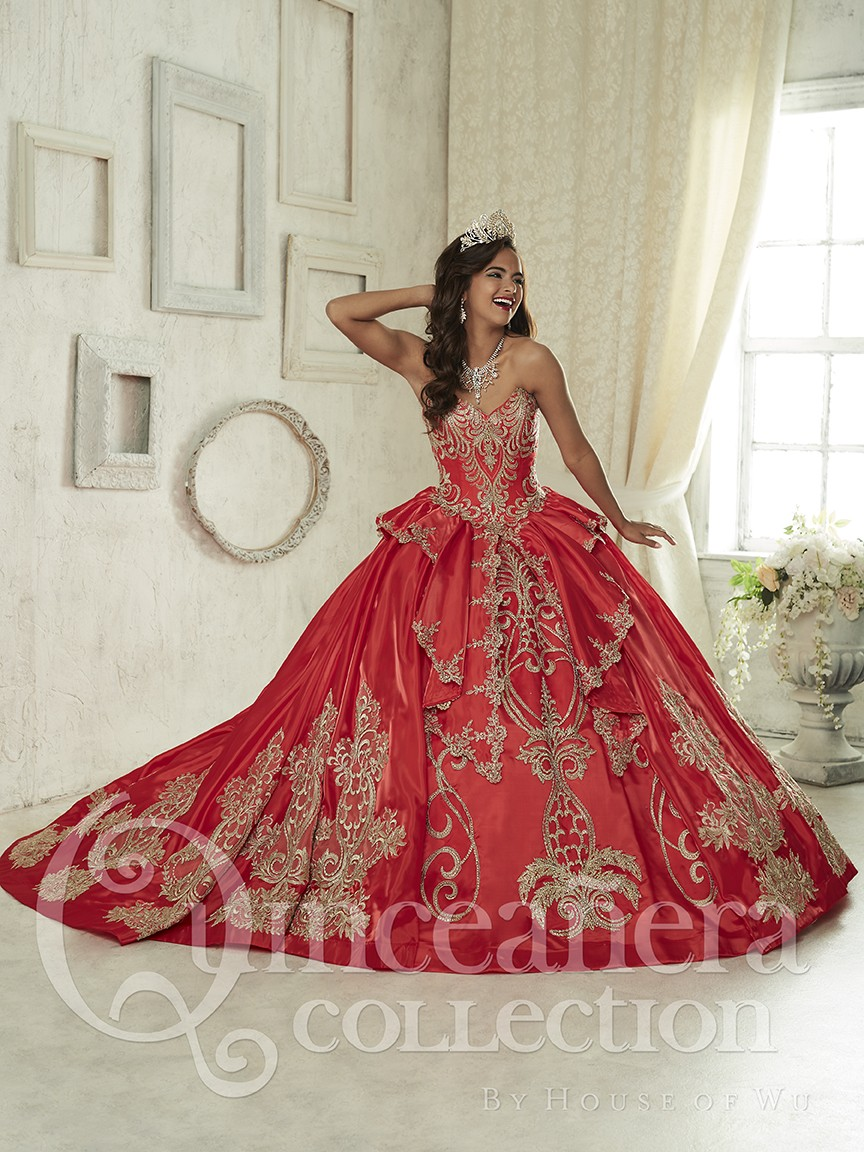 2f5378c1e13 Gold And Red Quinceanera Dresses Embroidery For 15 Year Girl Ball Gown  Sweetheart Bead Ruffles Sweet 16 Dress Party Gown