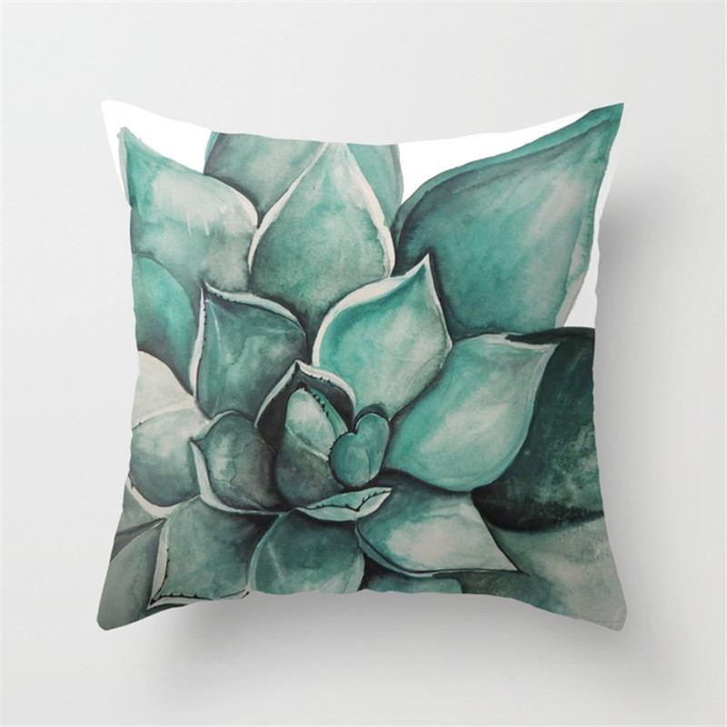 Throw Pillow Case for Couch Sofa Bed Succulent Plants Printed Cushion Cover J2Y
