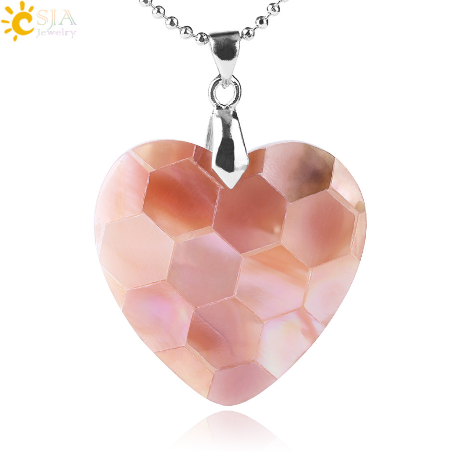 CSJA Heart Shape Natural Abalone Shell Necklace & Pendant Mother Of Pearl Hexagon Stitching White Pink Shells Women Jewelry F482