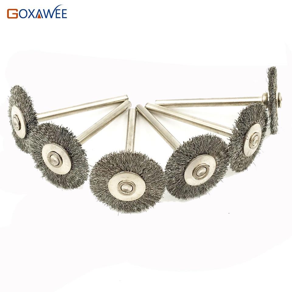 цена на GOXAWEE 100pcs For Dremel Rotary Wire Brushes Wheels Set 3.0mm Shank For Dremel Accessories Wood Metalwoking Tools