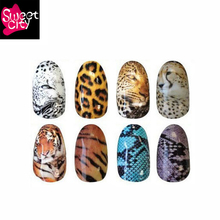 Sweet City 8 styles Animals Nail Water Stickers For Gel Polish Leopard Tiger Snake Pattern Manicure Beauty Nail Art Acrylic