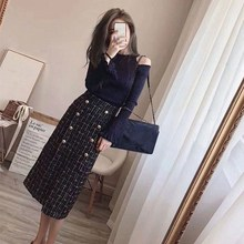 2018 New Autumn Winter Cold Shoulder Knit Sweater And Tweed Skirt Two Piece Sets O-Neck Elegant Women Flare Sleeve Mid Suits