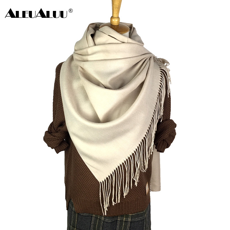 ALEUALUU Pashmina Solid Scarf For Women Winter Perfect Quality Soft Scarf Famale Long Thick Wool Shawl Cashmere Fashion Hot Sale