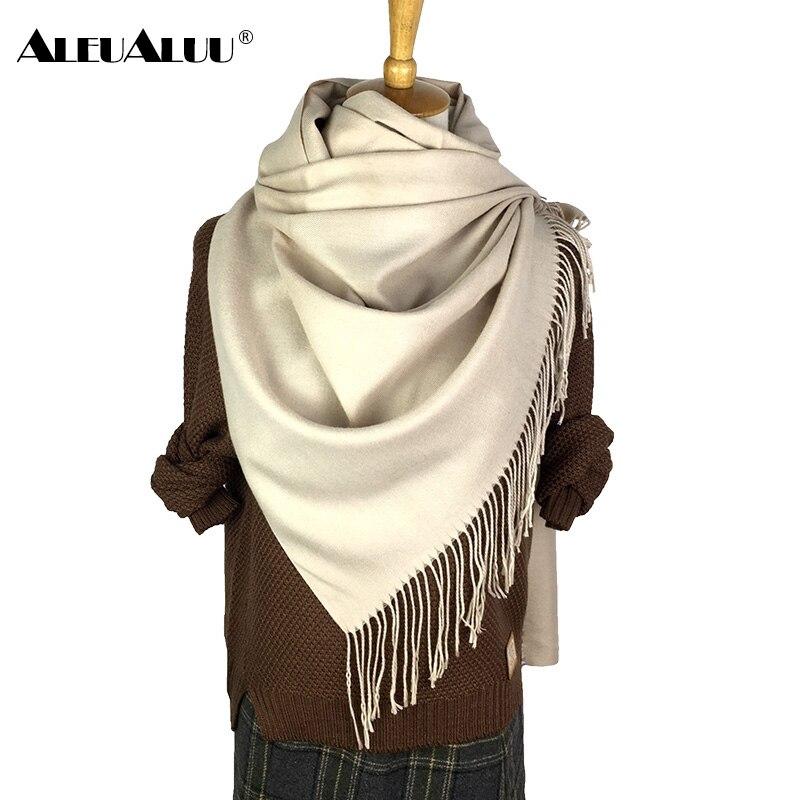 ALEUALUU Pashmina Solide Schal Für Frauen Winter Perfekte Qualität Weiche Schal Famale Lange, Dicke Wolle Schal Kaschmir Mode Heißer Verkauf