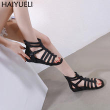 цена Women Summer Sandals 4cm Low Heel Wedges Shoes Casual Gladiator Sandals Women Punk Buckle Strap Sandal Fashion Black Wedge Shoes в интернет-магазинах