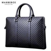MANBERCE Brand Handbag Men Shoulder Bags Genuine Leather Briefcases Tote Bag Men's Messenger Bag Casual Vintage Travel Bag