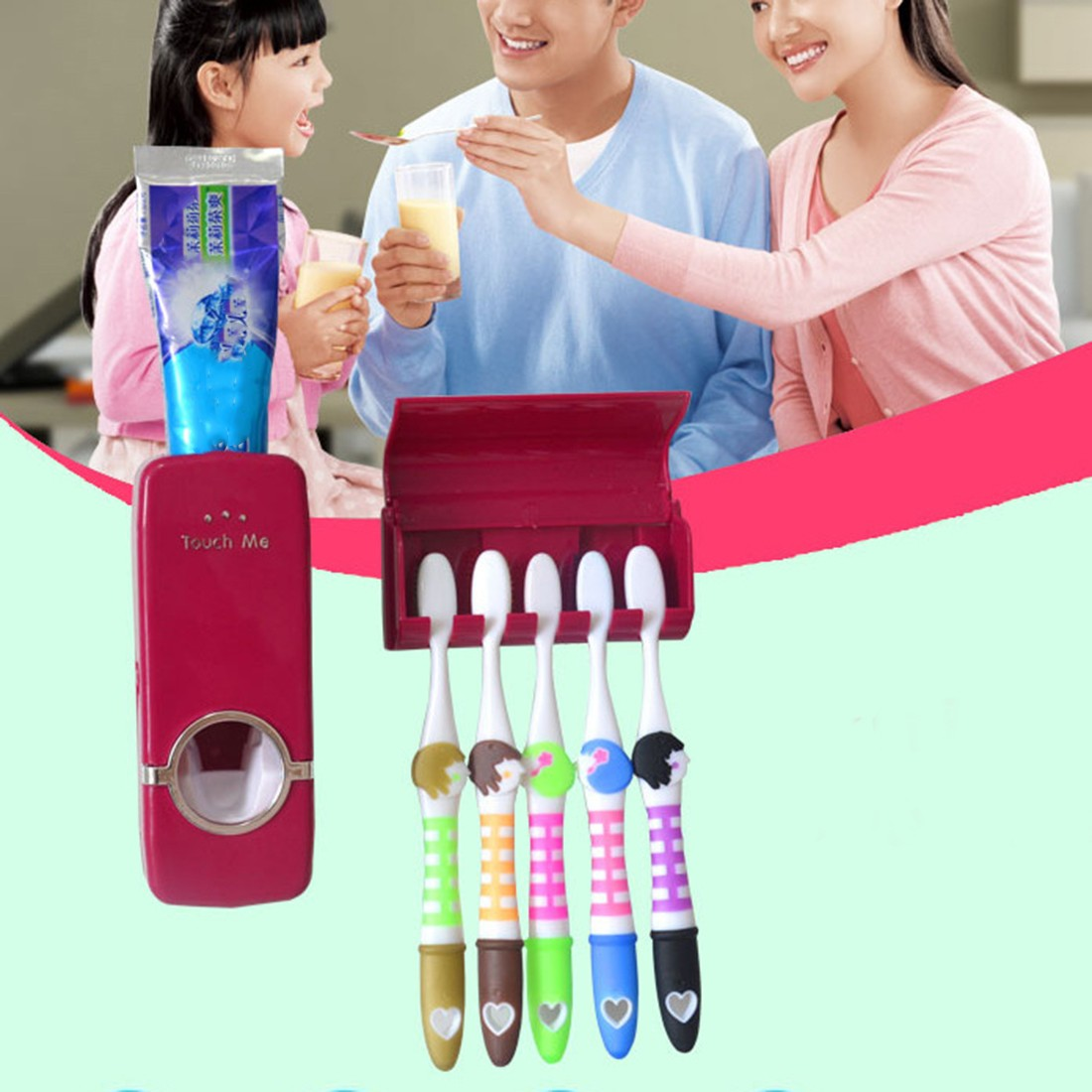 Top Toothpaste Dispenser 5 Toothbrush Holder Set Wall Mount Stand Toothbrush Family Tools Accessories Bathroom Products