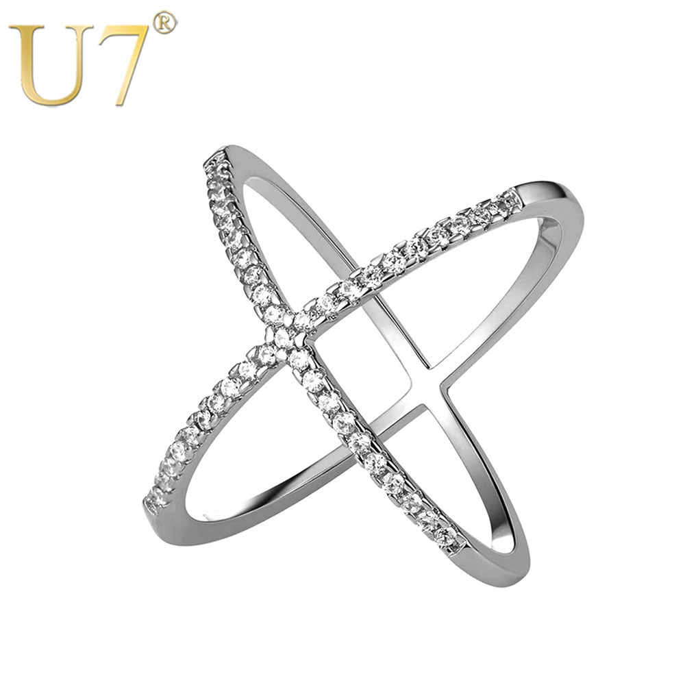 U7 Sphere Cross Ring Simple Style Unique Gold Color Cubic Zirconia X Shape Ring For Women Gift Party Jewelry 2017 New R1006
