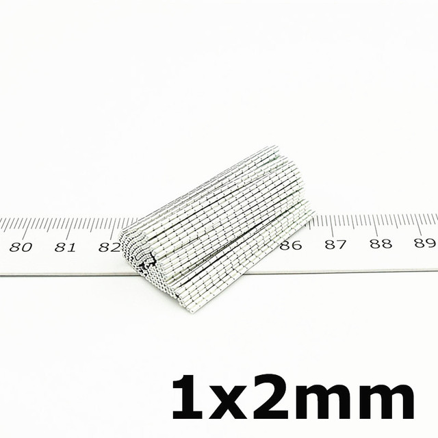 Micro Neodymium Magnet Cylinder 1x2 Neodimio Imanes Mini Precision Medical Electronic Sensor Small Metal Magnetic Stick 100pcs