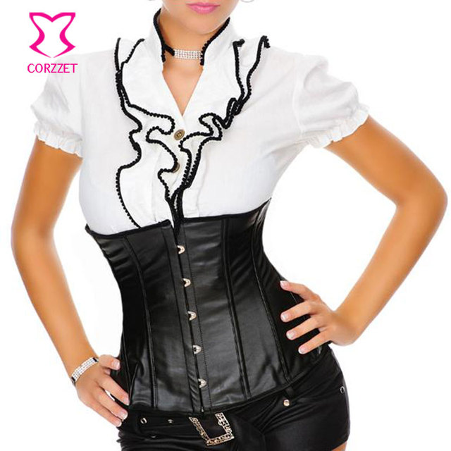 d7852dff8c Corzzet Black Faux Leather Steampunk Underbust Corsets and Bustiers Waist  Trainer Cincher Plus Size 6XL Sexy Gothic Korsett