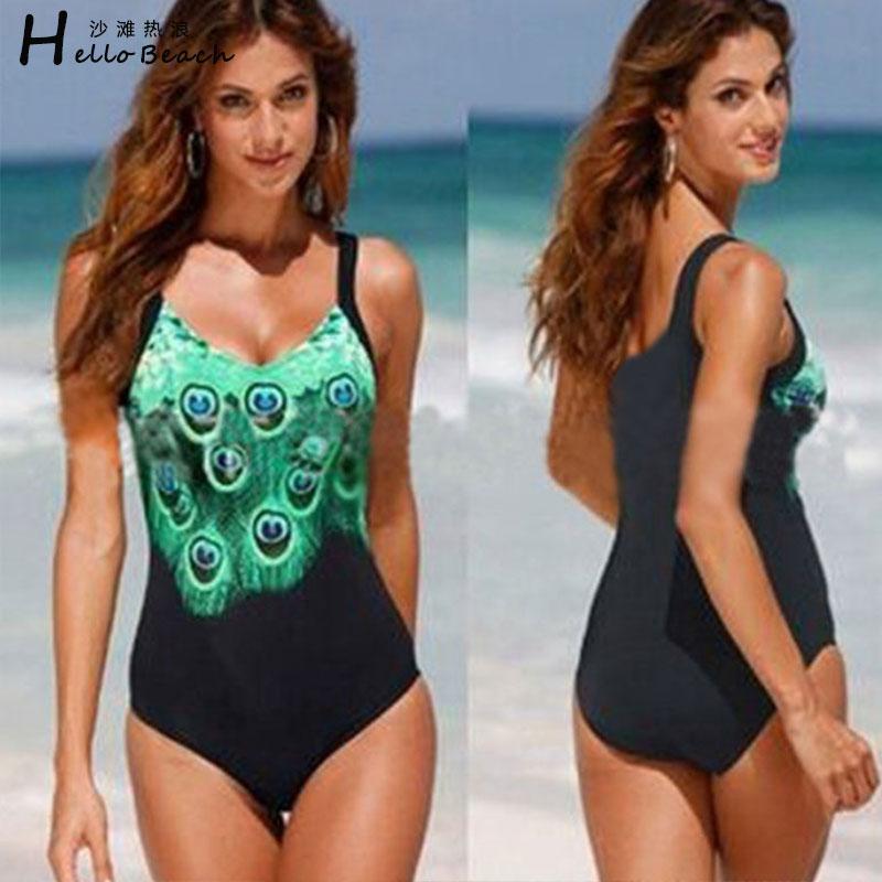 HELLO BEACH 2017 Plus Size Swimwear Women One Piece Swimsuit Print Bathing Suit Large Size Swimming Suit For Women Monokini Swim