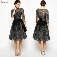 IASKY Women Elegant High Waist Half Sleeve Lace Dress Sexy Perspective Flowers Hollow Out Crochet Lace Embroidering Dress