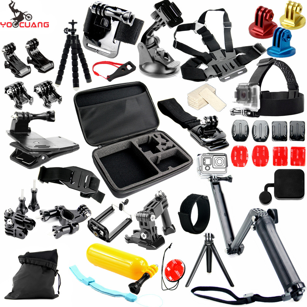 YOOCUANG For Gopro Accessories set for go pro hero 5 4 3 kit mount for SJCAM SJ4000 / xiaomi yi camera / eken h9 tripod Y37 for gopro hero 4 gopro hero3 accessories kit xiaomi yi accessories for gopro sjcam xiao yi 4k action cam camera bag bike mount