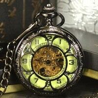 Luminous Men Pocket Watch Cool Luxury Lover Gift Chain Skeleton Mechanical Watch Black Steampunk Men Hand