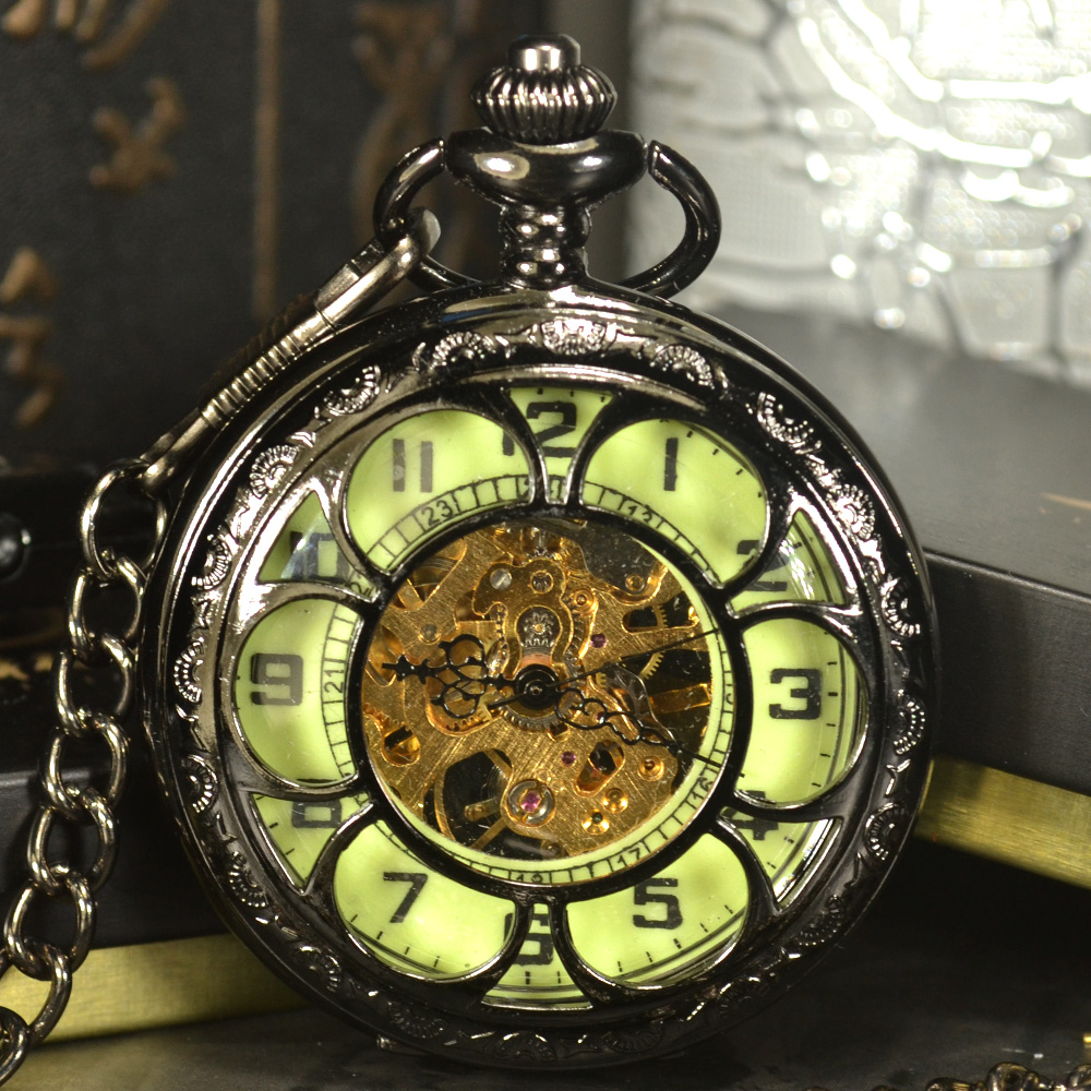 Luminous Men Pocket Watch Cool Luxury Lover Gift Chain Skeleton Mechanical Watch Black Steampunk Men Hand Winding Watch new black skeleton five star luxury hot stylish retro cool crown pattern hand wind mechanical pocket watch supernatural gift