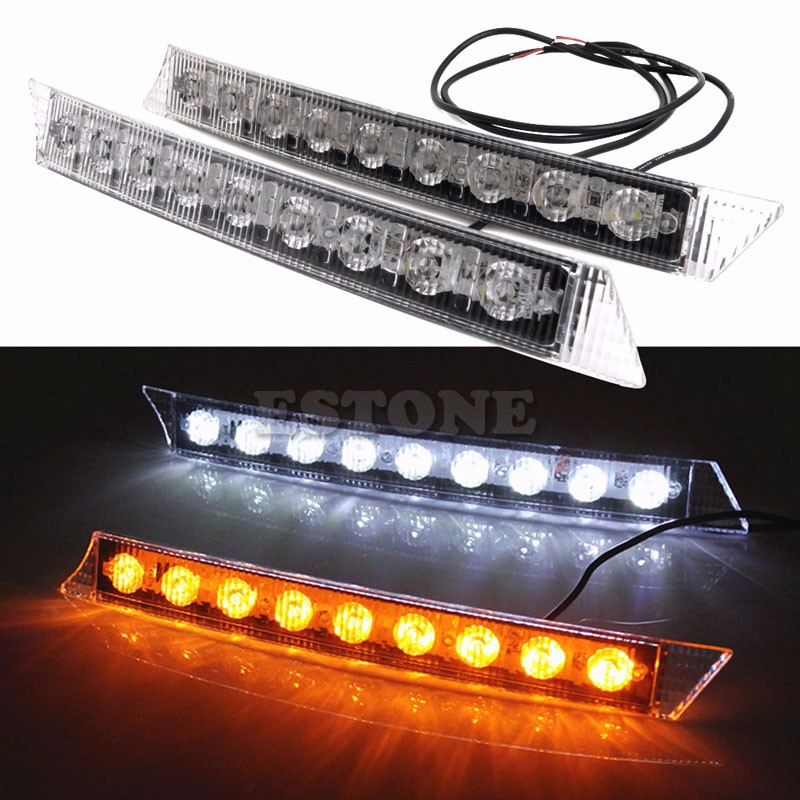 Auto LED Lights 2x 9LEDs Daylight Daytime Running Driving DRL LED Light Yellow Turn Signals Car Exterior Light Bulbs 1