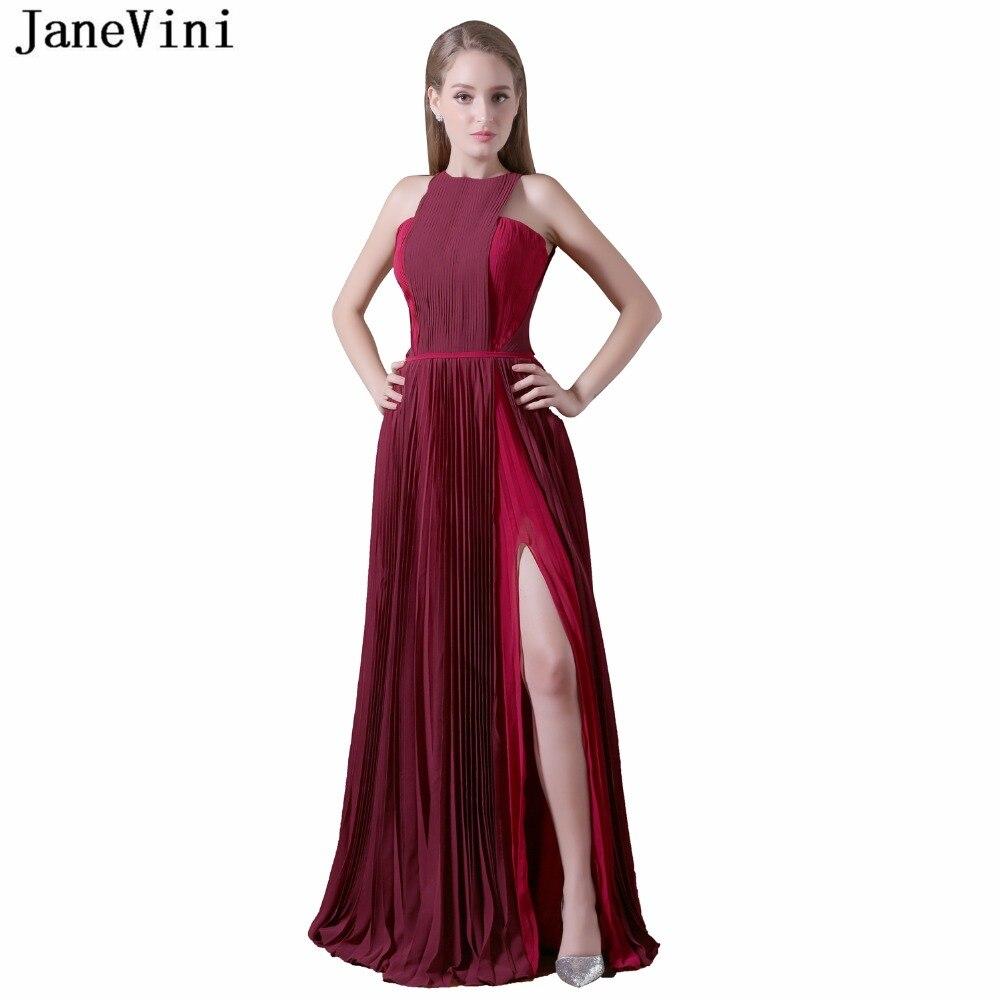 JaneVini Simple Burgundy   Bridesmaid     Dresses   A Line Pleats Chiffon Prom Gowns High Split Floor Length Vestido Madrinha Plus Size