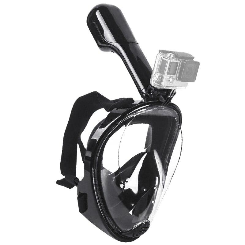 Natation Plongée Snorkeling Plein Visage Masque Sous-Marine de Surface pour Gopro S/M Noir