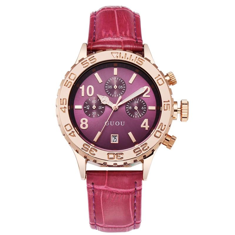 Fahsion Guou Luxury Brand Large Dial Gold Leather Real Three Eyes Calendar Qatch Waterproof Ladies Man Fashion Quartz Watches