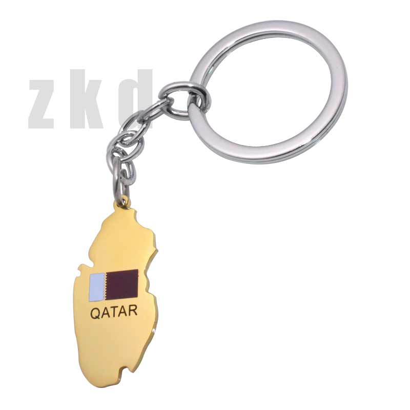Wholesale Jewelry Uae Zkd Qatar Map Qatar National Flag Stainless Steel Key