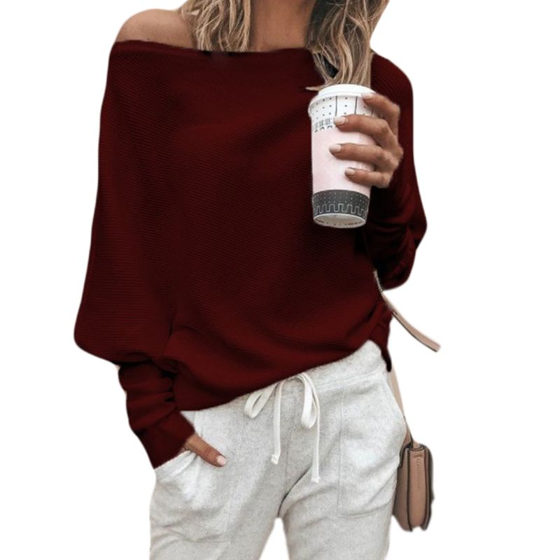 Women Autumn Spring Off Shoulder Sweater Long Batwing Sleeves Solid Color Knitted Pullover Tops Loose Casual Knitwear Jumper New