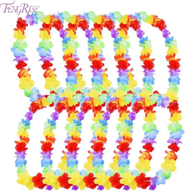 FENGRISE 10pcs Hawaiian Leis Garland Artificial Flower Hawaiian Party Decoration Beach Fun Flowers Luau Party Supplies