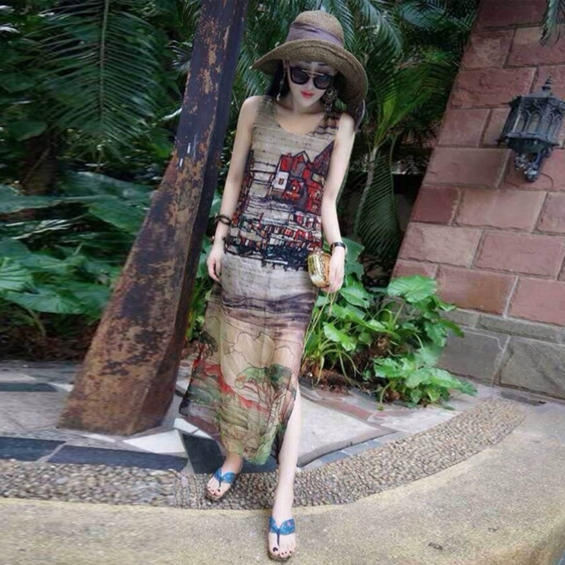2019Liva Girl new fashion personality retro women's sleeveless silk chiffon long dress summer beach beach dress popular dress