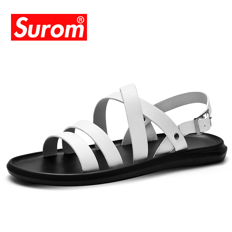SUROM 2018 Summer Mens Sandals Black & White Color Breathable Buckle Strape Gladiator Beach Shoes Men