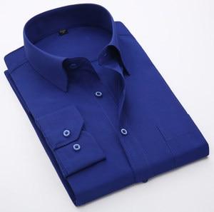 Image 5 - Artı Boyutu 5XL 6XL 7XL 8XL Sosyal İş Kolay bakım Elbise Erkek Gömlek Rahat Yumuşak Rahat Saf Renk Sarı mor Kırmızı