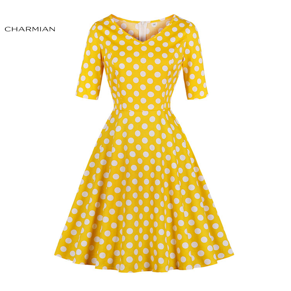 Charmian Women's Summer Plus Size Elegant Yellow Vintage Dress Polka Dot Midi Dress 1950s Party Casual Rockabilly Dress for Girl