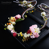 Bohemian Flower HairDress Boho Bridal Head Flowers Wedding Accessories DH027